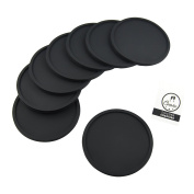 Coastee Drinks Coaster Set from Silicone for Bar, Living Room, Kitchen - Black