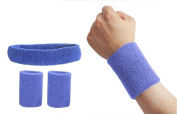 Lorsoul Athletic Cotton Cloth Wristbands Wrist Sweatband and Headbands sets for Sports Gym Badsketball Tennis