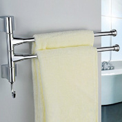BTSKY™ Wall-Mounted Stainless Steel Bathroom Kitchen Towel Rack Holder with 2 Swivel Bars