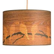 Large Modern Bird and Branch Silhouette Wood Veneer Effect Ceiling Pendant Light Shade