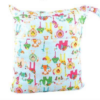 Waterproof Double Zipper Wet Dry Reusable Nappy Bag (Circus Animals)