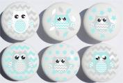 Seafoam Green Owl Drawer Pulls / Owl Ceramic Nursery Drawer Knobs, Set of 6