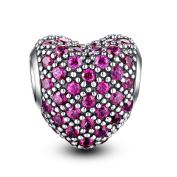 Glamulet Sports Women's 925 Sterling Silver Bright Magenta Paved Crystal Heart Shaped Love Charm Fits Pandora Bracelet