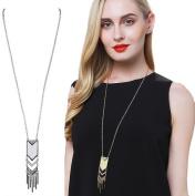 Bohemian Tassel Pendant Necklace, BOKOLI Long Necklace New Matte Triangle Necklace