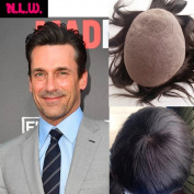 N.L.W. European virgin human hair toupee for men with SOFT THIN Super Swiss lace, 25cm x 20cm Straight hair pieces for men #4 Light brown