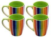 Set of 4 Windhorse Rainbow Striped Ceramic Coffee/Tea Mugs