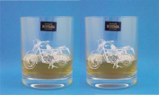 Pair of Bohemia Crystal Whisky Glasses With Speedway Bike Design - Includes Engraving up to 30 Characters