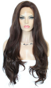 Anogol Hair Cap+60cm Synthetic Lace Front Wig Women's Hair Heat Resistant Fibre Long Natural Wave Wigs for Fancy Dress Wavy