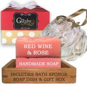 Luxury Handmade Soap Bath Gift Set - Includes Loofah & Bamboo Soap Dish