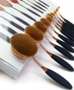 2017 New Professional 10pcs Soft Oval Toothbrush Design Makeup Brush Sets Foundation Brushes Cream Contour Powder Blush Concealer Brush Makeup Cosmetics Tool Kit