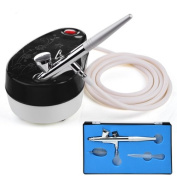 AMPERSAND SHOPS Airbrush Kit Set Mini Air Compressor 0.4mm Nozzle Single Action Trigger Control