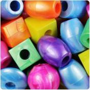 BEADTIN Bright Mix Pearl 25mm Jumbo Shape Pony Beads