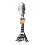 The Paris Eiffel Tower Charm with Golden Heart Authentic 925 Sterling Silver Dangle Beads for European Bracelet