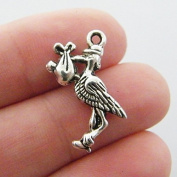 6 Stork Charms - 23 mm x 18 mm - Antique Tibetan Silver Tone - Double Sided Charm - Baby Theme