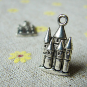 Antique Silver Castle Charms 20x13mm - 15 Pcs