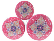 Set of 3 Arabic Style Nesting Kitchen Lunch Food Storage Pink Tin Boxes Tea
