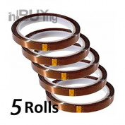INTBUYING 5Rolls 10mm33m 30m Gold Polyester Film Koptan Heat Resistant Tape Sublimation Transfer Press