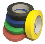 Ventincre colourful masking / washi tape, 2.5cm x 60 yards, 5 roll pack (black, blue, green, red, yellow)