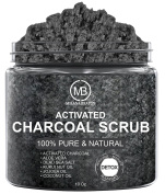 Charcoal Scrub for Body and Face Cleansing & Exfoliation - Pore Minimizer & Reduces Wrinkles, Acne Scars, Blackheads & Anti Cellulite - Great Body Scrub & Facial Cleanser 300ml