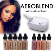 Aeroblend Airbrush Makeup Personal Starter Kit - Professional Cosmetic Airbrush Makeup System - DARK Foundation - Colour Match Guarantee - Full 1-Year Warranty