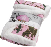 Trail Crest Baby Animal Print Soft Sherpa Blanket W/ Magnet, Bear
