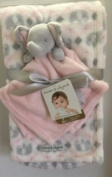 Blankets & Beyond Blanket Set with Pink & Grey Elephant Security Blanket