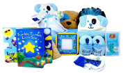 It's a Boy! Baby Gift Set - KellyToy Soft Puppy Baby Mat with Hat/Booties set, Books, Frame, Socks and Jelly Beans