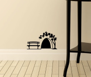 "Mouse Hole "" In the garden "" Skirting Board Wall Art Sticker Vinyl Decal "" 9cm x 5cm..UK SELLER"