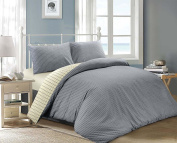 Jakarta Woven Chambray Striped and Cheque 100% Cotton Reversible Duvet Cover Set Blue & Cream