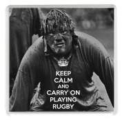 KEEP CALM AND CARRY ON PLAYING RUGBY Novelty Drinks Coaster with a picture of a muddy British Lions player. A Unique Gift idea for a rugby player or fan.