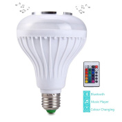 ALFALED Bluetooth Speaker Light bulb E27 12W Colour Changing Music Bulb White and RGB Built-in Smart Audio Speaker with 24keys Remote Control for Kid's Room Bedroom Living Room Party Show Stage
