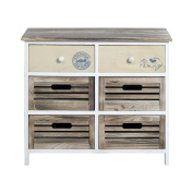 Rebecca srl Chest of Drawers Sideboard 6 Drawers REBECCA FAMILY Wood White Beige Brown Modern Living Room Bedroom