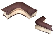 RAYYAN LINEN'S PLAIN DYED POLY-COTTON PERCALE REVERSIBLE TWIN colour CHOCOLATE & BEIGE V SHAPE PILLOWCASE FOR BACK AND NECK SUPPORT, orthopaedic, PREGNANCY, MATERNITY, NURSING, RELAXING   ONE V SHAPED PILLOWCASE ONLY