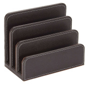 Osco Faux Leather Letter Holder - Brown