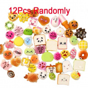 GARYOB 12PCS Squishy Charm Soft Foods Panda Bread Bun Toasts Kawaii Mini Multi Donuts Phone Straps Gift Random
