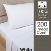 "RAYYAN LINEN'S 100% EGYPTIAN COTTON 200TC WHITE ""1.2m"" SMALL DOUBLE FITTED BED SHEET (23cm ) 