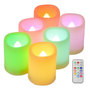 Kohree 6 Indoor and Outdoor Colourful Flameless Pillar LED Candles Votive Candles with Remote Control & Timer