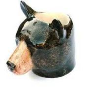 Quail Ceramics - Black Bear Face Egg Cup