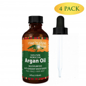 (4-Pack) Pure Argan Oil for Skin - Best for Hair, Skin and Nails - 100% Natural Virgin Moroccan Argan Oil is a Great Shampoo, Conditioner, Hair Spray, Mask and Excellent Hair Growth and Loss Treatment