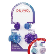 Girl's Colour-Changing Hair Prongs by Del Sol - Glitter Daisy Hair Prongs - Changes Colour in the Sun