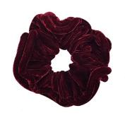 NTL #109 Red Velvet Elastic Hair Scrunchies (Regular) Tie Band Ponytail Holder, Hair Scrunchy
