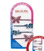Girl's Colour-Changing Hair Pins by Del Sol - Jewelled Butterfly and Plumeria Hair Pins - Changes Colour in the Sun