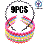 QY 9PCS Bright Multiple Colours Inside Teetch Design Plastic Flexible Sports Men's Women's Hair Hoop Band Headband