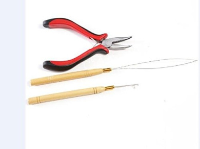 Uotp 3Pc Kit for Micro Ring Link Hair and Feather Extensions: Pliers, Micro Pulling Needle, and Loop Threader