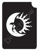Crescent Moon Sun 1008 Body Art Glitter Makeup Tattoo Stencil- 5 Pack