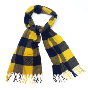 Buffalo Cheque Navy & Gold Soft Fringe Scarf with Rhinestone Flying WV