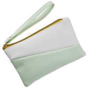 Mint Green and White Colour Block Wristlet Purse Bags & Purses