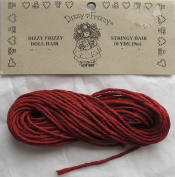 DIZZY FRIZZY Craft 1 PACK of 10 YARDS (9 M) STRINGY DOLL HAIR Colour DARK RED String Yarn