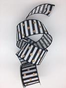 Celebrate IT- Ribbon -Horizontal stripe ribbon (Black) with dots 6.4cm x 3 yds