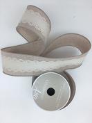 Celebrate IT- Ribbon Linen with white lace trims tape - ribbon 6.4cm x 3 yds
